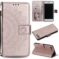 For iPhone 7 8 Plus XR XS Max Case Patterned Leather Pocket Magnetic Stand Cover