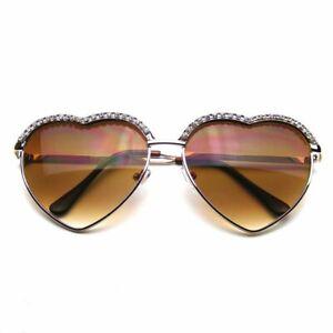 SUNGLASSES Womens Retro Cute Chic Heart Shape Glam Rhinestone Sunglasses