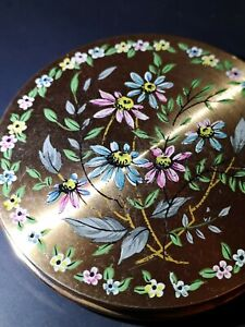 made in england foundation tin retro mirror and powder tin Vintage 1940s make up compact with carrying sleeve painted pattern