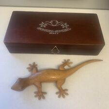 Gecko Bali Wood Carving With Gecko Sound Effect & Display Case