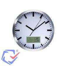 Wanduhr mit LCD Display Thermometer Hygrometer Aluminium Wettersymbole 25 cm TOP