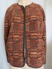 Talbots Tweed orange & brown Jacket Blazer  Wool Blend zip front Size 14P