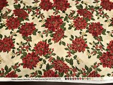 Bty Cream/Red Poinsettia Holly Toss Xmas Cotton Fabric-Timeless Treasure Gold