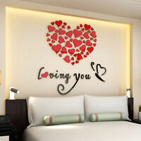 3D Lovely Mirror Hearts Acrylic Wall Stickers Home Decor DIY Decal Removable