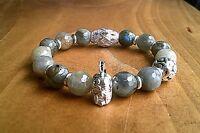 Mens Silver Warrior Helmet Gemstone Beaded Bracelet Chunky Stone 10MM Bracelet