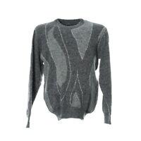 Vintage Pullover Herren Gr. L Strick Sweater Grau Langarm Rundhals Pulli