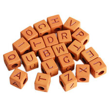 100pcs Imitation Wood Plastic Mixed Letters Carved Cube Loose Spacer Beads DIY C