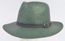 Brixton LEIGHTON 100% Paper Fedora Flat Brim Hat  Medium  7 1/4 58cm Green NEW