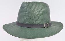 Brixton LEIGHTON 100% Paper Fedora Flat Brim Hat  Medium 7 1/4 58cm Green NEW