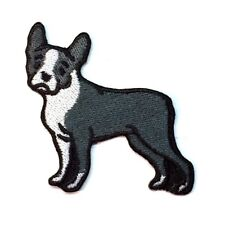 Boston Terrier Iron On Embroidered Patch