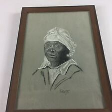 Eakin Framed Art VTG 1975 Sketch Drawing 70s African American Woman Older Signed