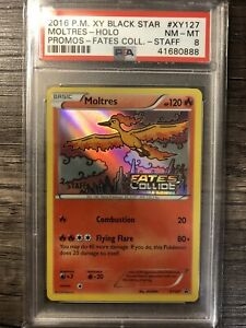 2016 Pokémon Psa 8 Nm-mt Moltres Staff Xy127 Fates Collide