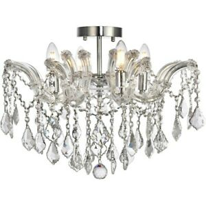 Elegant Lighting Maria Theresa 4-LT Flush, Chrome/Royal Cut - 2800F18C-RC