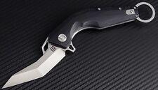 "Artisan Cutlery Cobra Folding Knife 2.99"" D2 Steel Blade Black Curve G10 Handle"