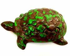 "WELLER POTTERY  COPPERTONE 5 1/4"" TURTLE FIGURAL ARTIST MARKED   -  CIRCA 1920's"