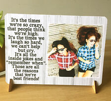"""8x6"""" Personalised Best Friend Friendship Quote Text Photo Plaque Thank you NEW"""