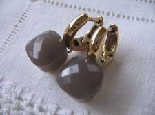 Firenze Ohrringe Ohrschmuck * Creolen Grau Gelbgold * Dark Grey Opal DER TREND!