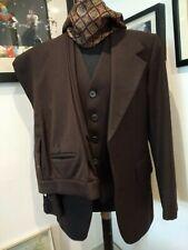 Vintage 70s men's suit brown wool waistcoat 3 piece large lapels wide leg