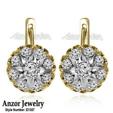 Russian Jewelry 14k Solid Yellow & White Gold Genuine Diamond Malinka Earrings.