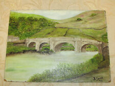 Vintage Oil Painting On Board 'The Bridge' Signed By J. Smith - 1975