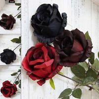 Singola Testa Artificiale Finto Rosa Fiori Foglia Bouquet Festa Matrimonio Casa