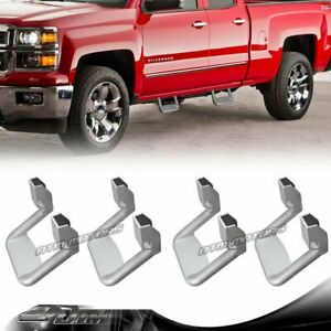 4-PCS Silver Texture Coated DIE-CAST Aluminum Truck Side Step Bar Universal 4