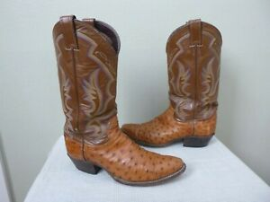 JUSTIN 9.5 B Cognac Full Quill Ostrich Skin Embroidered Western Work Cowboy Boot