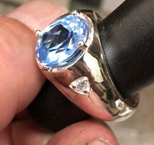 925 Sterling Silver Synthetic Aquamarine Men's Gallery Ring available size 6-14