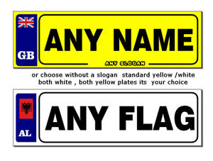 2 X personalised number plate stickers ANY/NAME/FLAG KIDS RIDE ON CAR/JEEP/BIKE