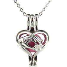 """K560 Silver 25mm Kids Mom Hand Pearl Beads Cage Necklace 18"""" -- Mother's Day"""