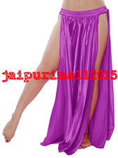 40 COLORS | Belly Dance Satin 2 Slit Skirt Panel Gypsy Long Maxi Dress Costumes