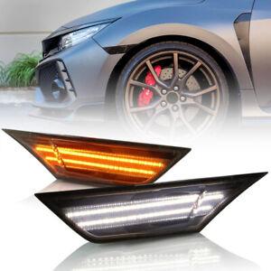 Smoke Lens Led Side Marker Light for 2016-up Honda Civic Turn Signal White DRL