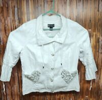 The Collective Work of Berek Women's Sz. L 100% Linen With Blingy Pocket Jacket