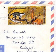 XX103 1970s BURUNDI *Bujumbura* Commercial Airmail Cover England ANIMALS MONKEYS