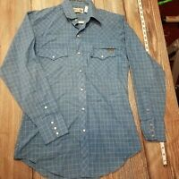Roebucks Average Size Pearl Snap Front Western Long Sleeve Shirt Blue Vintage