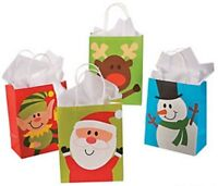 Pack of 12 - Paper Christmas Character Gift Bags Assortment Snowman Santa Elf...