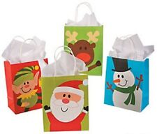 Pack of 12 - Paper Christmas Character Gift Bag Assortment