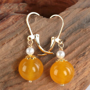 Yellow chalcedony pearl Earring 18KGP Dangle Holiday gifts Party Fashion Gift