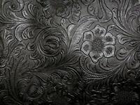 "**VINYL** BLACK Western Floral Laredo Tooled Faux Leather 18""x27"" #7524"