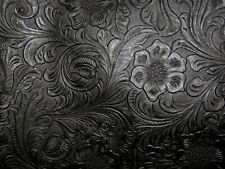 "**VINYL** BLACK Western Floral Laredo Tooled Faux Leather 18""x27"" #7524"