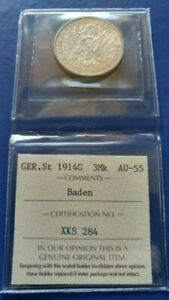 1914-G Germany Empire BADEN 3 Mark Silver CoinFriedrich II ICCS AU-55