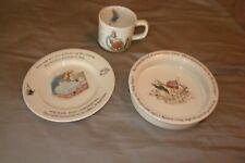 3 Pc Wedgewood Peter Rabbit Porcelain Bowl Dish Mug Near Mint M Ade In England