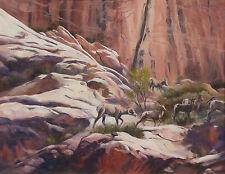 "Glenna Burton ""Sheep Canyon"" Hand Signed Original Oil Painting on Board bighorns"