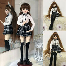 "Girls 24"" 1/3 BJD Doll Eyes Face Make up + Dress Wig Shoes Ball Jointed Doll Toy"