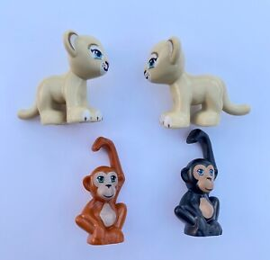 LEGO FRIENDS MINI FIGURE ANIMALS X 4 - LIONESS / ORANGUTAN / CHIMPANZEE - VGC!