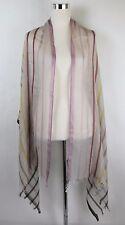 New Bottega Veneta Cashmere Silk Multi Color Line Patterned Scarf 308375 9568