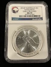 Australia 2016 P 1 oz Silver Dollar Kangaroo MS70 NGC Early Releases