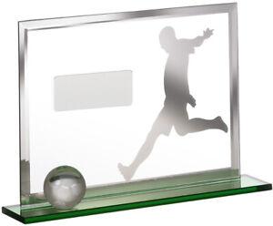 UMBRA FOOTBALL AWARD GLASS LASERED TROPHY - 20x4x13.5cm  FREE ENGRAVING