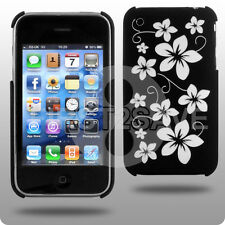 BLACK HYBRID HARD FLORA CASE FOR APPLE IPHONE 3GS 3G UK