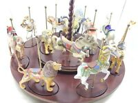 CAROUSEL TREASURY OF CAROUSEL ART FRANKLIN MINT 12 FIGURINES w/ WOODEN DISPLAY